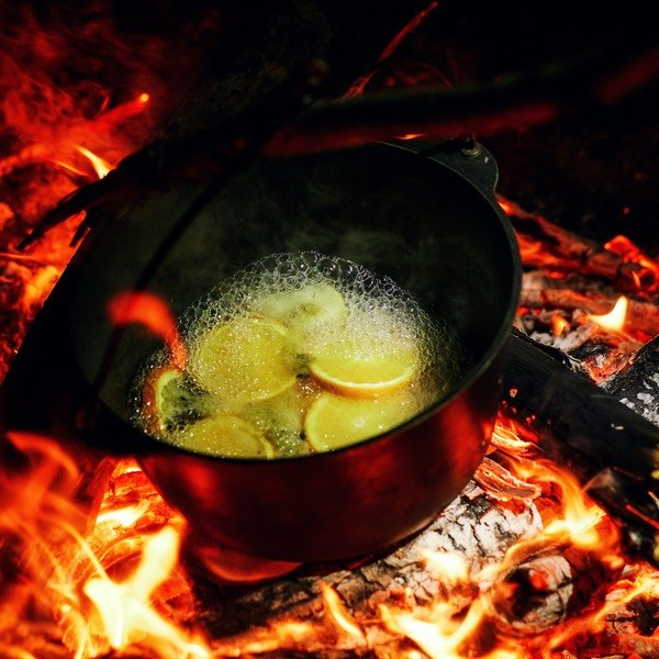 Making Mulled Cloudy Cider on Charcoal