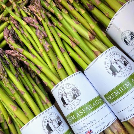 Colcombe house asparagus 250g bundles in branded white wrappers